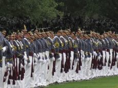 Members of the Class of 2015 turn to face the Corps of Cadets.