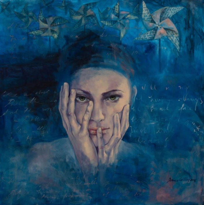 "Painting ""Introspection"". Original work, painting, oil on canvas, artwork sign Dorina Costras. Dimension 90/90 cm. Price: 1850 E"