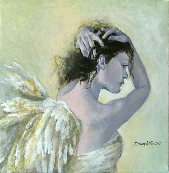 "Painting, original art - ""Angels"" series. Mixed technique, 45/55 cm. Not Available - Private collection"