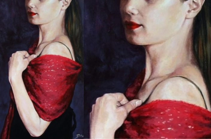 Girl portraits - detail. Painting in oil on canvas, custom portrait from foto. Size 60/90 cm. Artwork not available