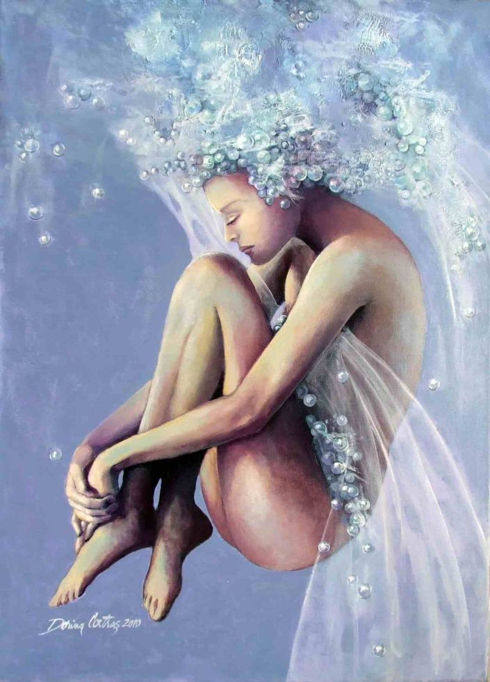 Artwork - Frozen Dreams. Painting, figurative art category.Technique: oil on canvas with frame, 56/76 cm. Private collection