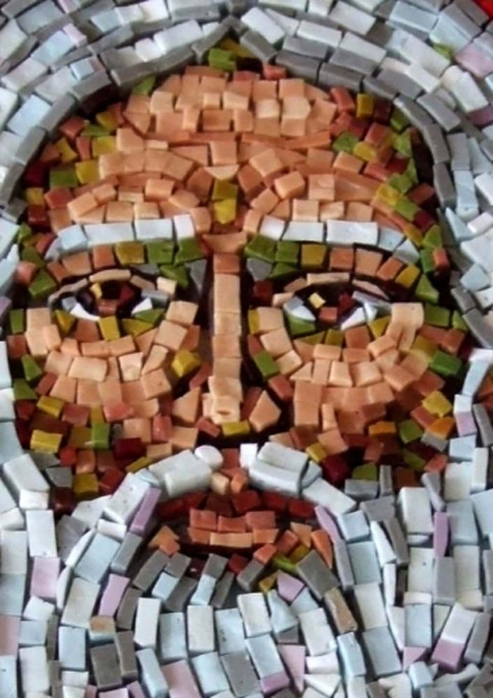 Mosaic, stage 2 - intermediate phase. Before installation on the facade - God face detail, mosaic, scene size 16 sqm.