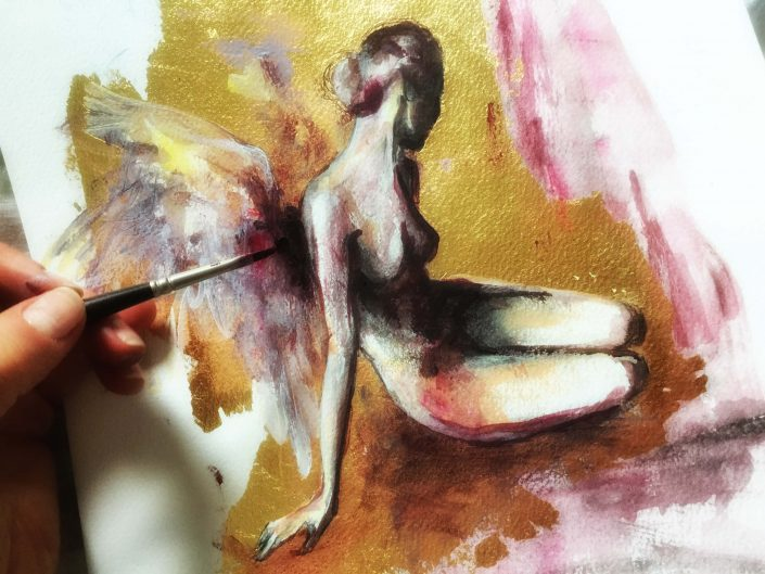 Angel Watercolor. Angels paintings, watercolor on paper. Angels drawings, artwork for sale.
