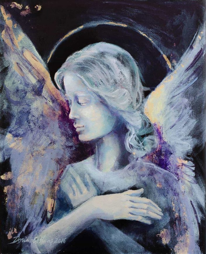 Angel, painting on canvas, gold and silver leaf, 25/30 cm, 130 E
