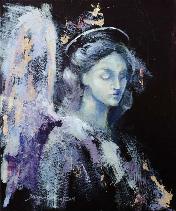 Angel, Painting on canvas, gold and silver leaf, 25/30 cm, 175 E