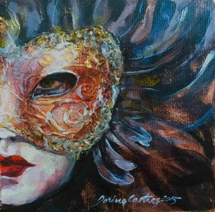 Mask 3 - Painting on canvas, original art, mixed tehnique, 20/20 cm. Artwork delivered with frame. Price: 150 E