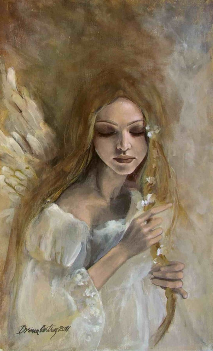 "Artwork: Silence - Painting on canvas, original painting from ""Angels"" series. Size 35/55 cm. Private collection."