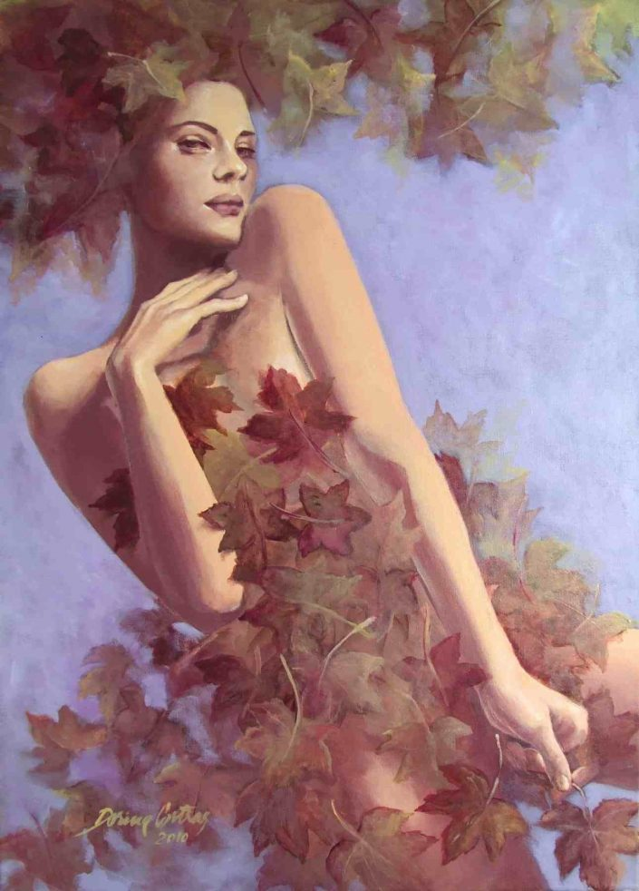 Autumn Nostalgy - Painting, figurative work.Technique: painting on canvas with chasis, with frame, 56/76 cm. Price: 850 E