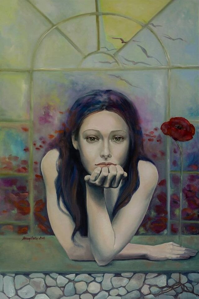 Introversion - Painting, oil on canvas, original artwork sign Dorina Costras, 80/120 cm. Private collection