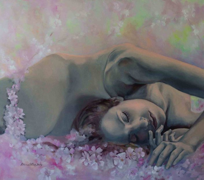 Painting Revival, original romantic artwork sign Dorina Costras, Nude with flowers, size 70/80 cm. Price: 1100 E