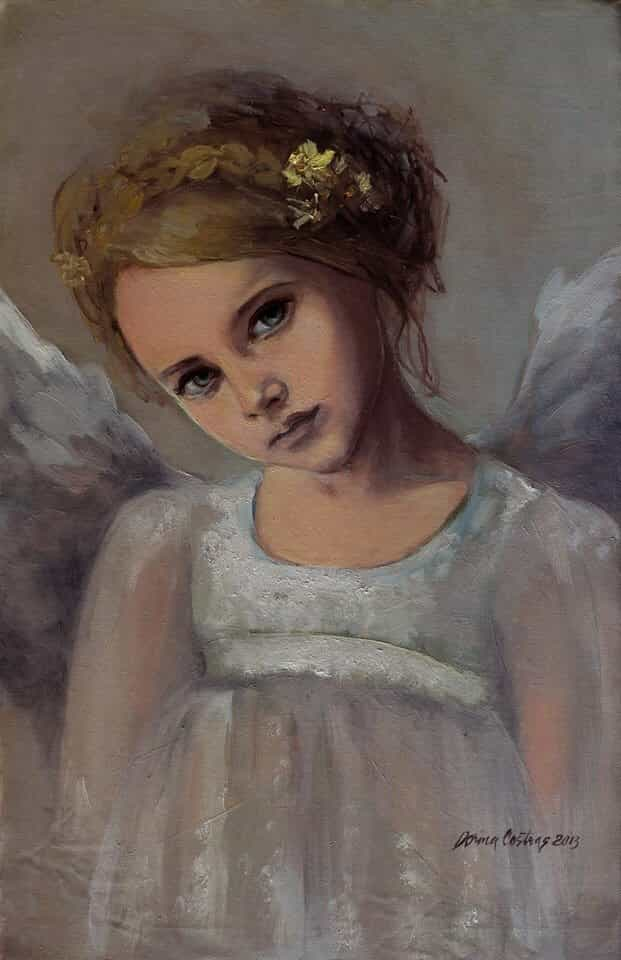 Angel - Reading Into Your Soul. Oil on canvas, 25/37 cm, artwork with frame. Private collection