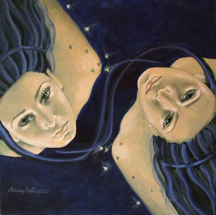 "Zodiac - Gemini. Part of ""Zodiac signs"" series, painting, oil on canvas, size 40/40 cm. Private collection."