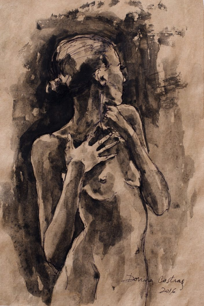 Nude sketch - Drawing on paper. Size 30/20 cm - delivered with frame, passepartout and glass. Price 250 E