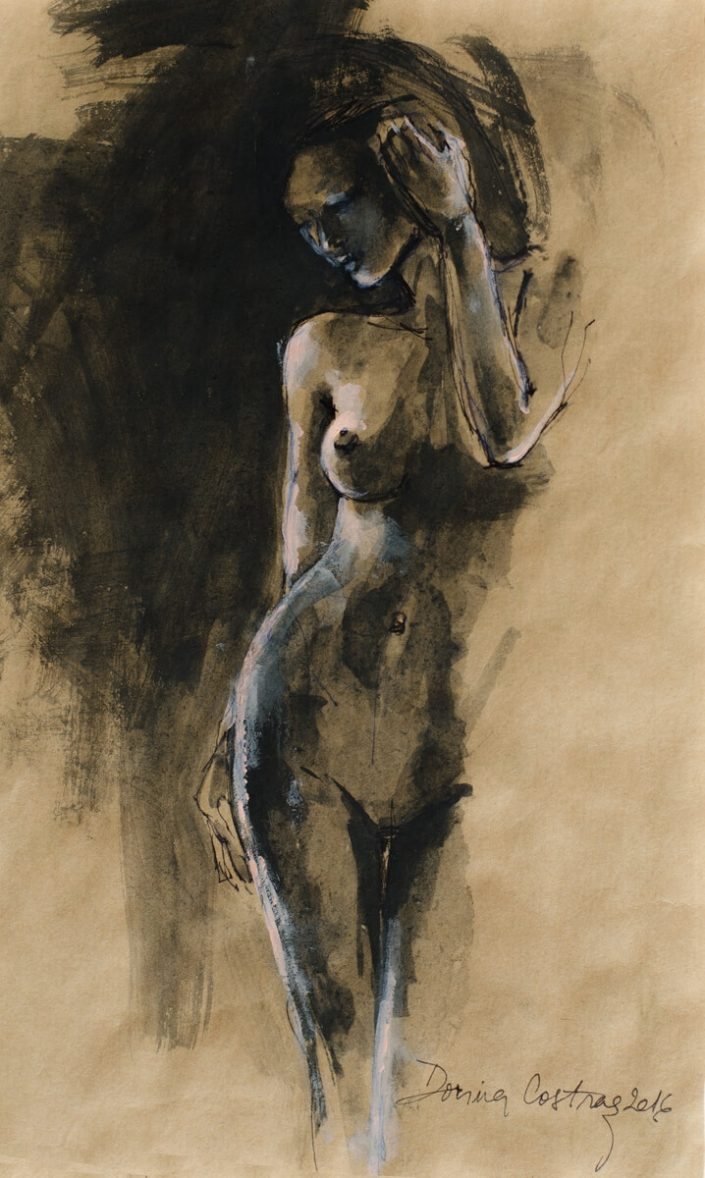 Nude - Drawing on paper, original, price 250 E. Size 20/30 cm. Delivered with frame