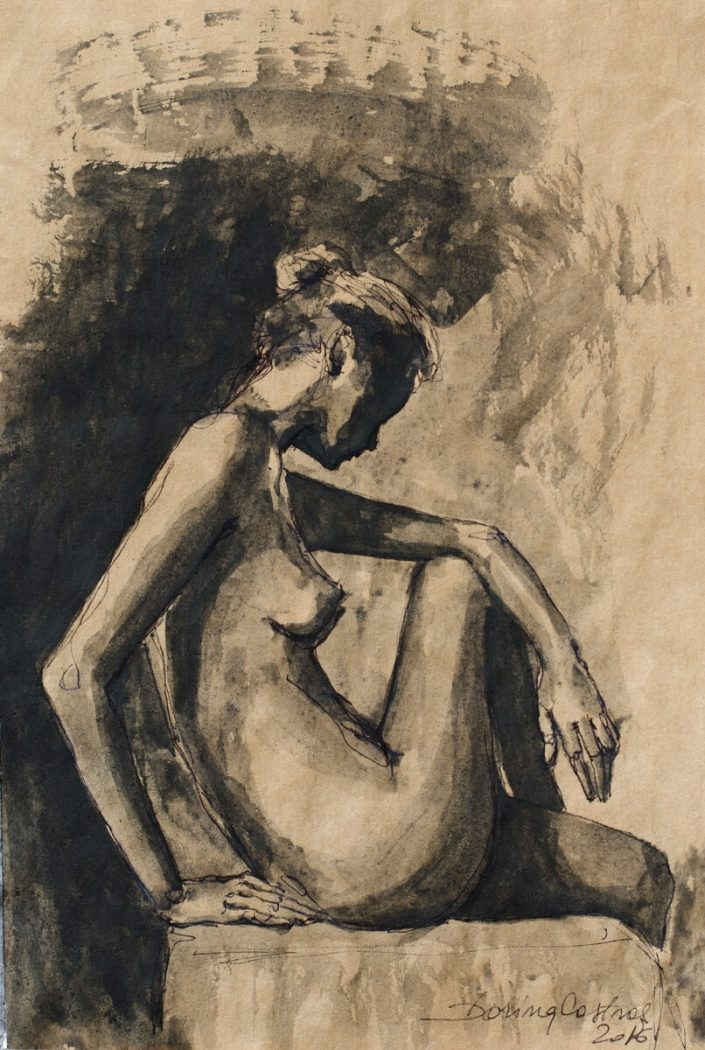 Nude - Drawing on paper, original, price 250 E. Delivered with frame