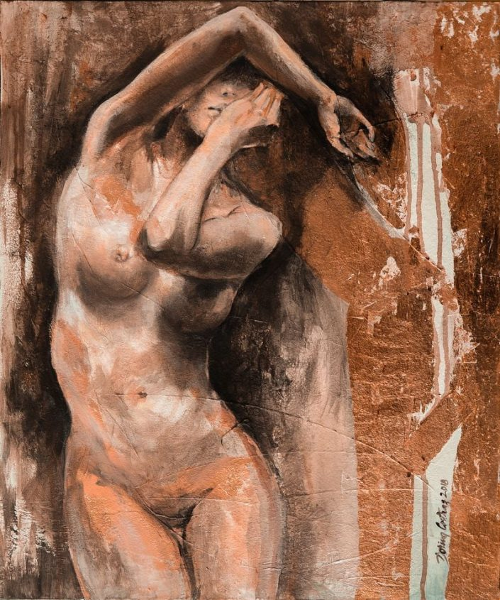 "Nude (1)- Make part of ""In Motion"" series, price 620 E. Painting on canvas, copper leaf, artwork dimension 47/55 cm."