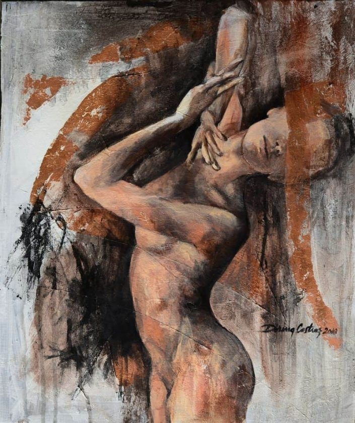 "Nude (2)- Make part of ""In Motion"" series, artwork price 620 E. Painting on canvas, copper leaf, artwork dimension 47/55 cm."