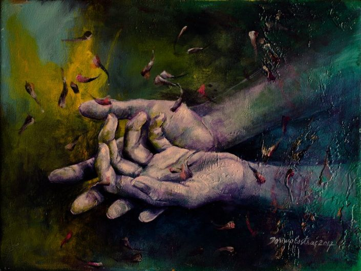 Hands, painting on canvas, original art Dorina Costras, Saint Etienne France. Size 45/35 cm, price 350 E