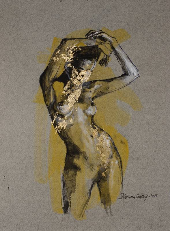 Nude 11 _ Drawing on Canson paper, gold leaf and colours. Artwork size 30/40 cm - delivered with frame, passepartout and glass. Price 350 E