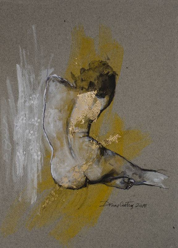 Nude 12 - Drawing on Canson paper, gold leaf and colours. Size 30/40 cm - delivered with frame, passepartout and glass. Price 350 E