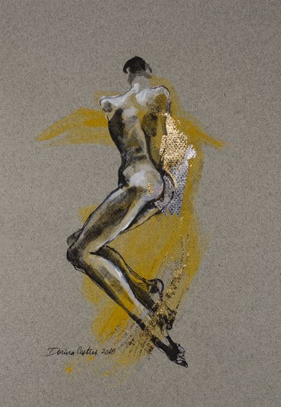 Nude 10 - Drawing on Canson cardboard, gold leaf and colours. Sketch Size 30/40 cm - delivered with frame, passepartout and glass. Price 350 E