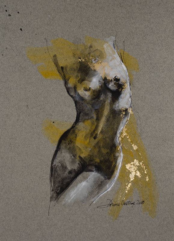 Nude 8 - Painting on Canson paper, gold leaf and colours. Size 30/40 cm - artwork with frame, passepartout and glassPrice 350 E
