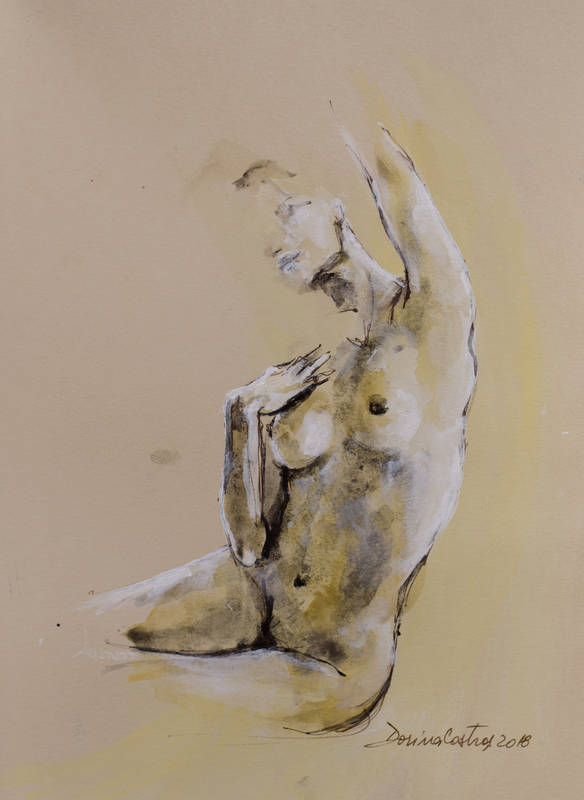Nude 13 Painting on Canson paper, gold leaf and colours. Size 30/40 cm - delivered with frame, passepartout and glass. Price 350 E