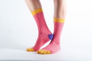Womens Spotted bamboo socks - yellow and pink