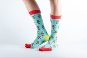Womens Teddy Bear bamboo socks - mint and red
