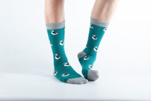 Womens Puffin bamboo socks - green, teal and grey