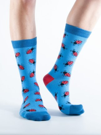 Womens Ladybird bamboo socks - blue and dark blue