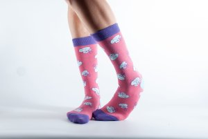 Womens Butterfly bamboo socks - pink and purple