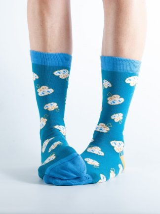 Womens Butterfly bamboo socks - blue and dark blue