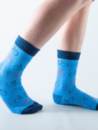 Kids Bicycle bamboo socks - blue and dark blue