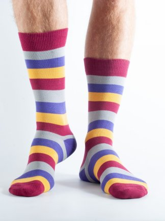 Mens Stripey bamboo socks - claret, yellow, grey and blue