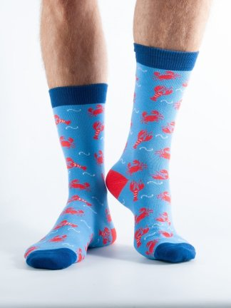 Mens Crab bamboo socks - blue and dark blue