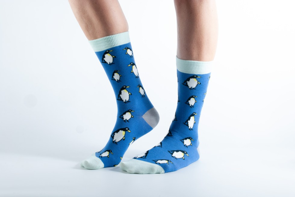Womens Penguin bamboo socks - blue and mint
