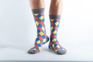Mens Diamond harlequin socks - yellow, grey, blue and pink
