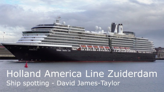 Holland & America cruise ship Zuiderdam, sailing into the Tyne