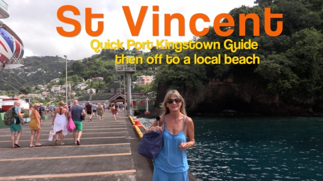 St Vincent, Kingstown and white sand beach by local bus