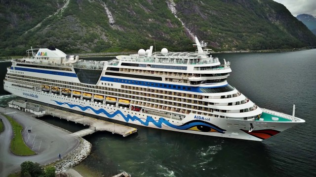 Eidfjord, Norway. overview from the air by DRONE featuring the AIDAsol
