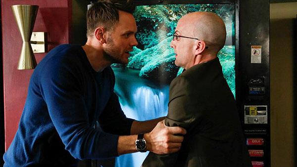 "COMMUNITY -- ""Basic Story"" Episode 512 -- Pictured: (l-r) Joel McHale as Jeff Winger, Jim Rash as Dean Pelton -- (Photo by: Vivian Zink/NBC)"