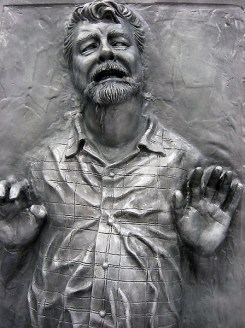 George Lucas perfectly preserved in carbonite... that is if he survived the freezing process.