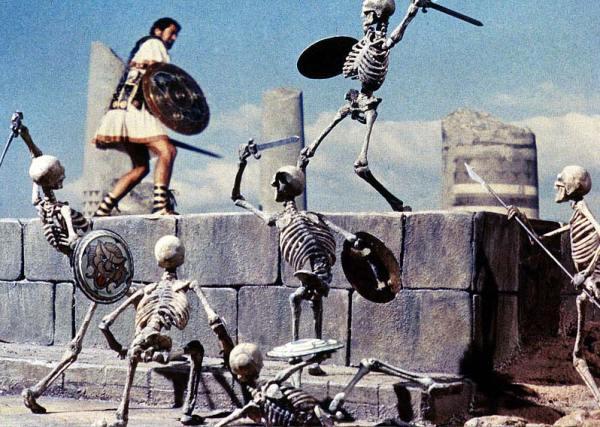 Jason and the Argonauts battle the seven skeleton warriors.