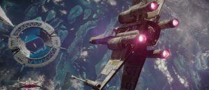 X-Wing taking down shield gate on Scarif