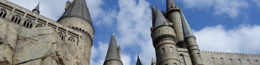 Harry Potter and the Goblet of Fire trivia quiz. Image shows Hogwarts Castle from Universal Studios.