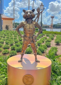rocket and groot, statues