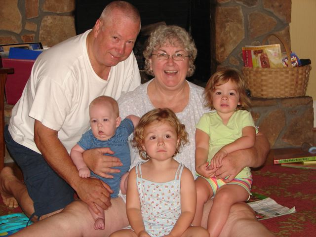 PawPaw & Gran with the kids after our summer vacation 07