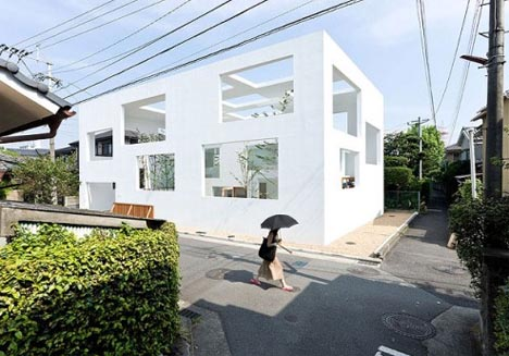 Minimalist Design Open Air White Home Without Windows