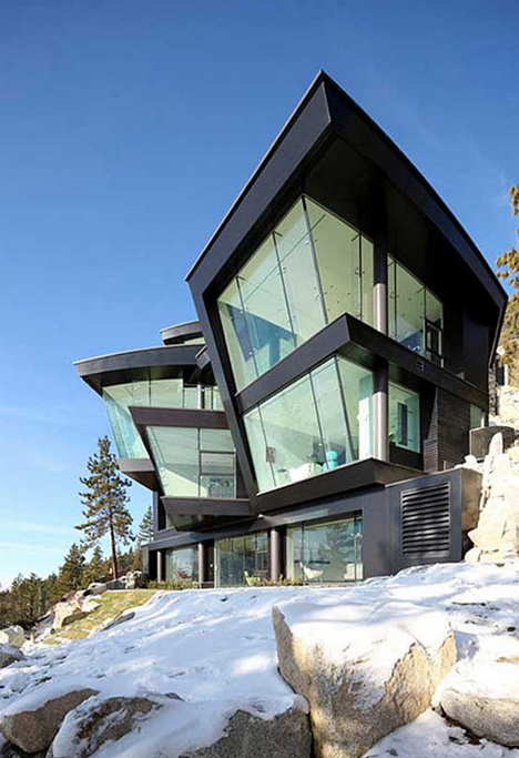 Curved Cliff House Metal Amp Glass Bend In Waterfront